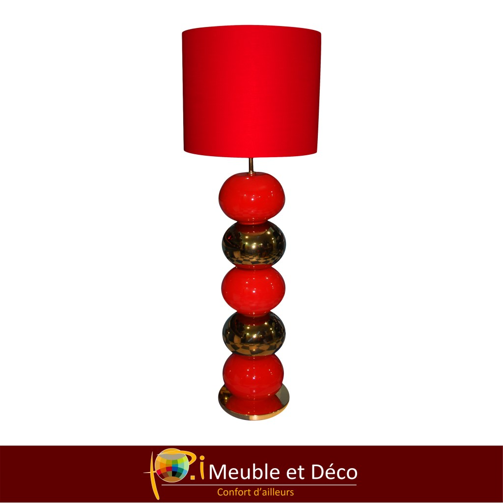 LAMPE GALET GOLD/RED