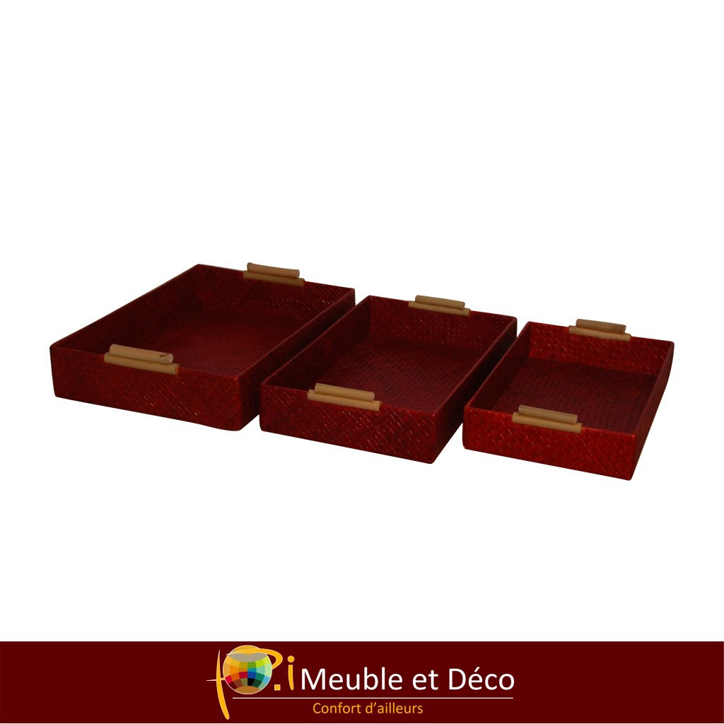 BAMBOO Plateau osier X3 Rouge