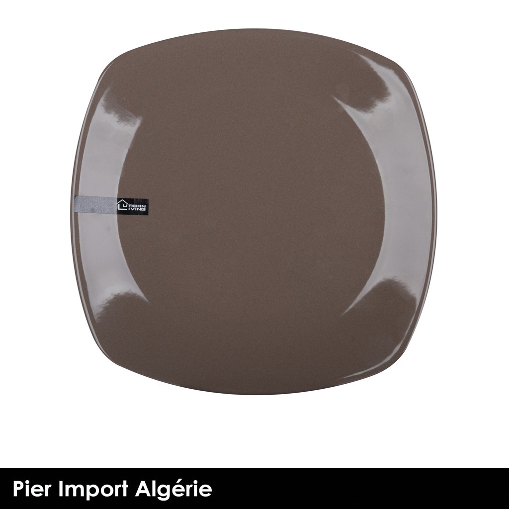 Assiette carré Taupe  (New Collection)