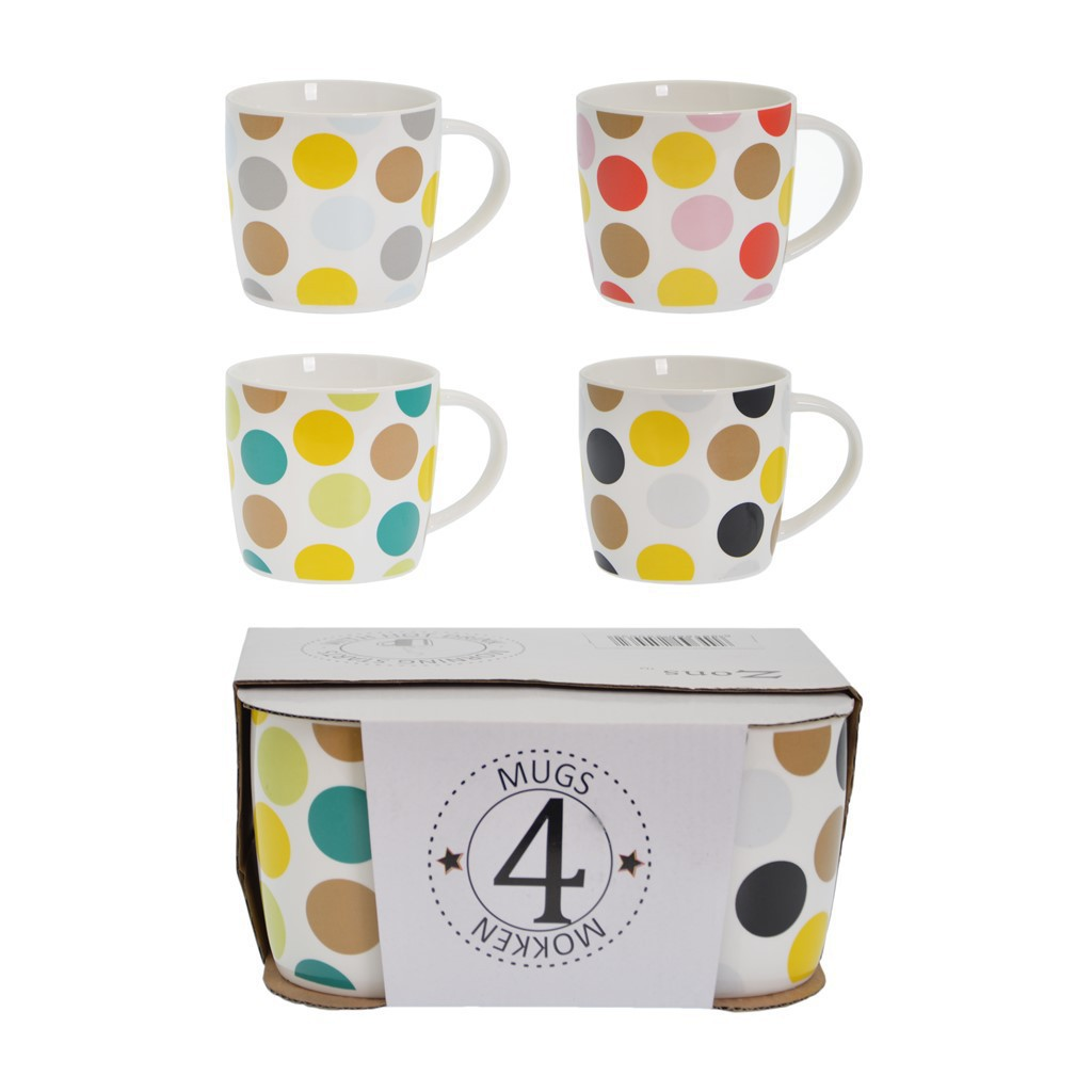 Display 4 mugs en céramique 9*H10cm 4 designs